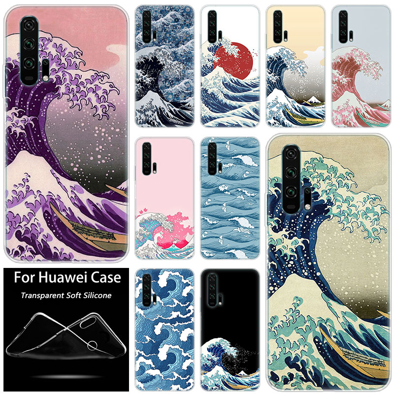 Hot The Great Wave off Kanagawa <font><b>Silicone</b></font> <font><b>Case</b></font> for Huawei <font><b>Honor</b></font> 20 8A 7A Pro 10 9 8 Lite View 20 <font><b>7S</b></font> 8S 8X 7X 6X 8C 20i 10i Play image