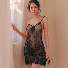 купить Yhotmeng sexy lace print backless pajamas women transparent underwear tulle straps deep V nightdress pajamas set дешево