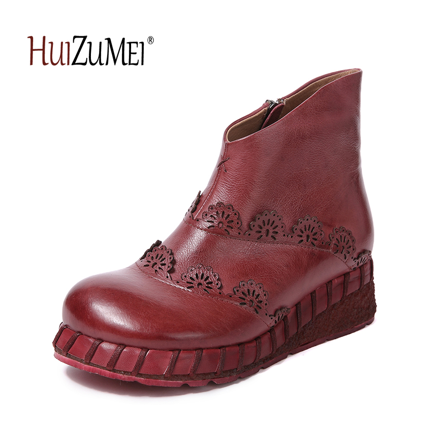 HUIZUMEI new women boots genuine leather casual retro boots flat round toe ankle boots for women y s 2016 new mens casual desert boots mans genuine leather flat shoes adults round toe ankle chukka adults quilted boots y 100