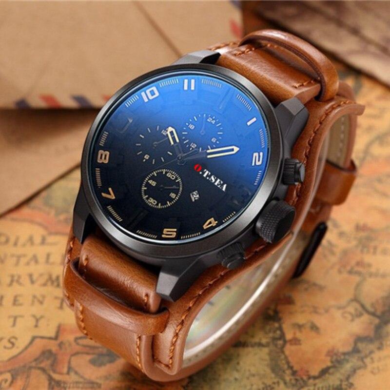 Relogio Masculino Fashion Watch Men Military Quartz Watch Male Watch Top Brand Luxury Leather Sports Wrist Watch Date Clock 2019
