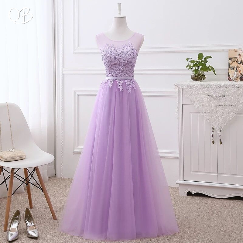 Wine Red Grey Pink A-line Floor Length Tulle Lace   Bridesmaid     Dresses   Elegant 2019 New Long Women Formal Party Gowns LA01