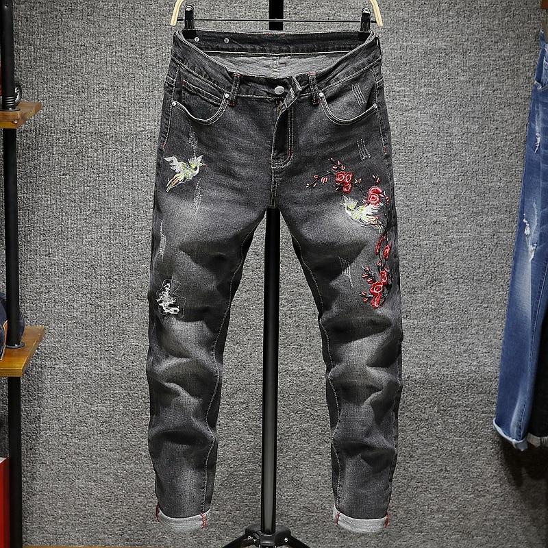 2018 Neue Blume Hosen Männer Jeans Füße Schlank Mode Stickerei Chinesischen Stil Stickerei Männlichen Heißer Verkauf Elastizität-dünne Hosen 100% Hochwertige Materialien