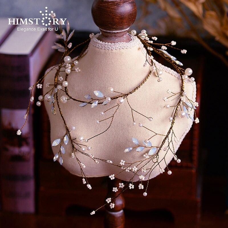 Barrette de mariée longue en cuivre fait main rétro cristal perle vigne cheveux Barrette bijoux de mariage accessoire de cheveux