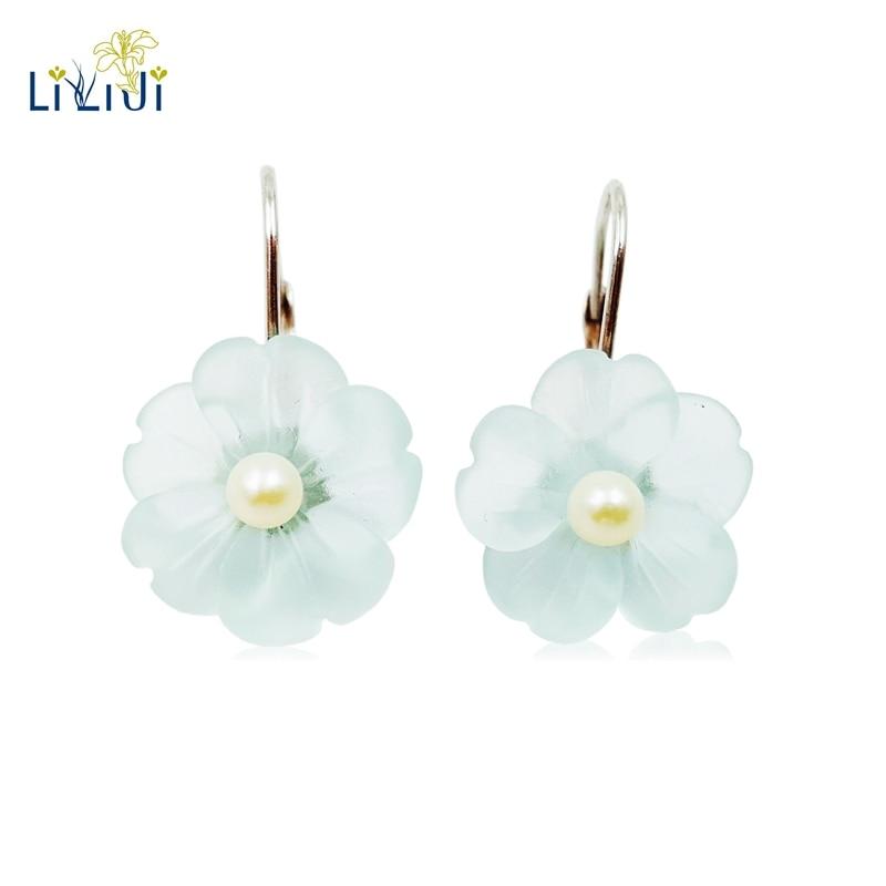 Lii Ji Real 925 Sterling Silver Natural Blue Crystal Flower Freshwater Pearl Earring