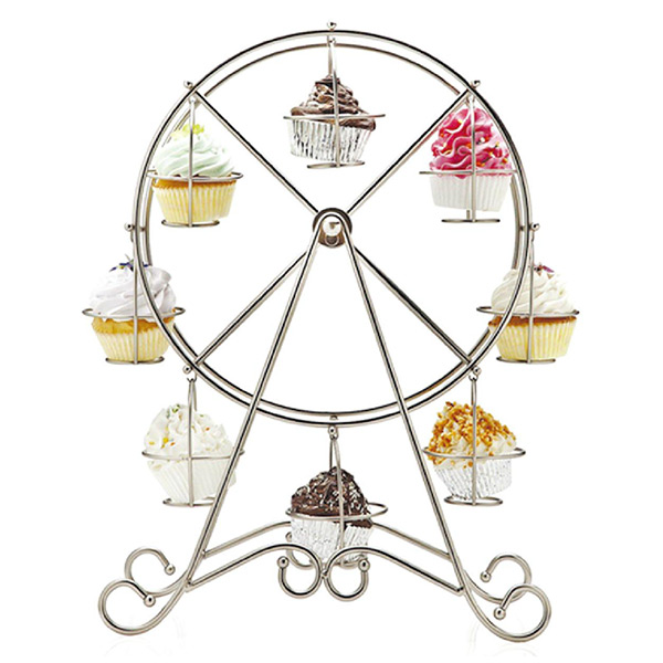Ferris Wheel Silver Stainless Steel Cupcake Stand Cake Holder Wedding Decorating Food Display <font><b>Tool</b></font> Party Supplies Casamento
