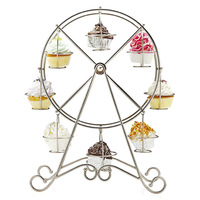 Free Shipping Ferris Wheel 8 Cups Silver Cupcake Stand Holder Decorating Wedding SuppliesHot New