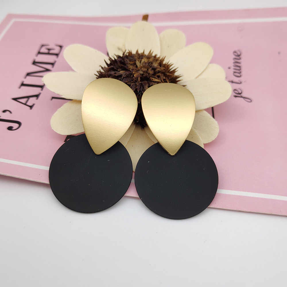 Matte gold geometric drop earrings 7 color round pendant earrings for women elegant gift jewelry earrings 2019 A659-A665