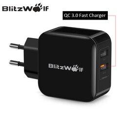 BlitzWolf QC3.0 + 2.4A 30 Вт Dual USB Зарядное устройство мобильный телефон быстрая Зарядное устройство ЕС Адаптер дорожный стены Зарядное устройство для...