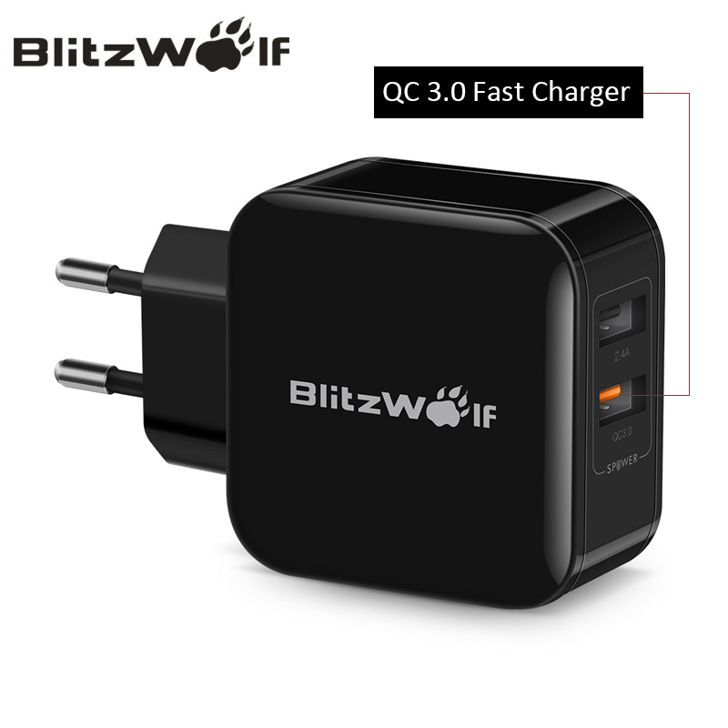 BlitzWolf QC3.0 + 2.4A 30 w Double USB Chargeur Mobile Téléphone Rapide Chargeur Adaptateur UE Voyage Mur Chargeur Pour iphone 8 8 Plus X