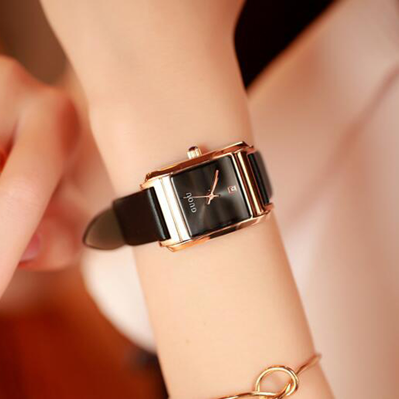 2018 Fashion GUOU 0809 Brand Women Watches  Luxury Real Leather Casual Clocks Rectangle Clock Ladies Watch Saat Relogio Feminino