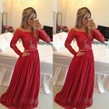 Abendkleider 2015 la madre de la novia vestidos manga larga de encaje de gasa roja Vestido de noche formal de Gala Jurken Vestido Branco