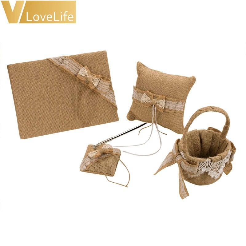 Vintage Burlap Jute Bow Wedding Set Guest Book Pen Basket Ring Pillow Decor