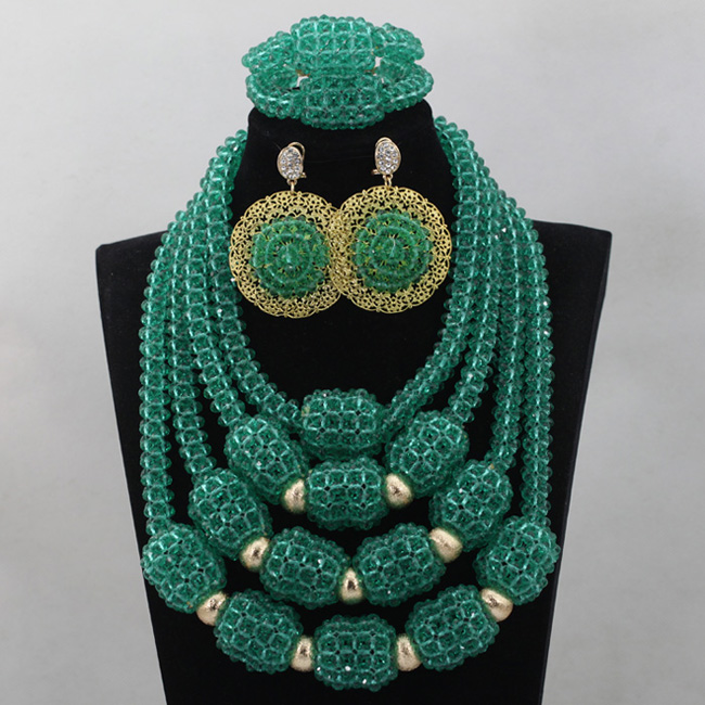 Latest Teal Green Chunky Bib Crystal Statement Necklace Set Handmade Nigerian Beaded Jewelry 2017 Free Shipping ABL735