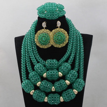 Latest Teal Green Chunky Bib Crystal Statement Necklace Set Handmade Nigerian Beaded Jewelry 2016 Free Shipping ABL735