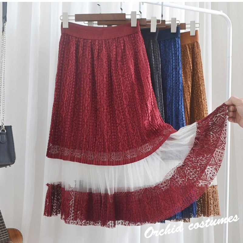 Half Skirt High Waist Long Lace Skirt Female Spring 2019 New Long Skirt Mesh Skirt Summer A Line Casual in Skirts from Women 39 s Clothing