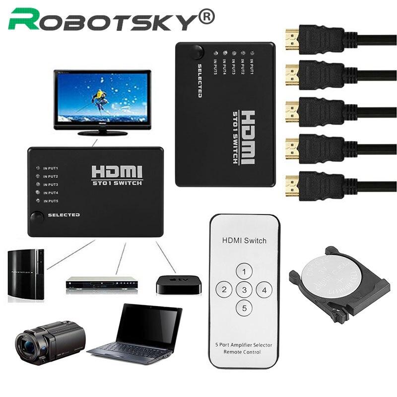 Novo 5 Em 1 Out 5 Portas de Vídeo HDMI Switch Selector Com CR2025 bateria Splitter Switcher Hub & Remoto IR 1080 p Para HDTV PS3 DVD
