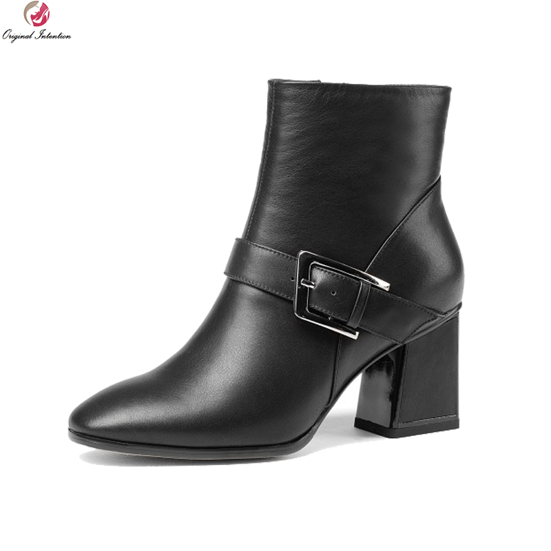 Original Intention Stylish Women Ankle Boots Nice Cow Leather Round Toe Square Heels Boots Black Red Shoes Woman US Size 3-10.5 high quality women ankle boots nice pointed toe square heels beautiful black red leopard shoes woman us size 3 5 10 5
