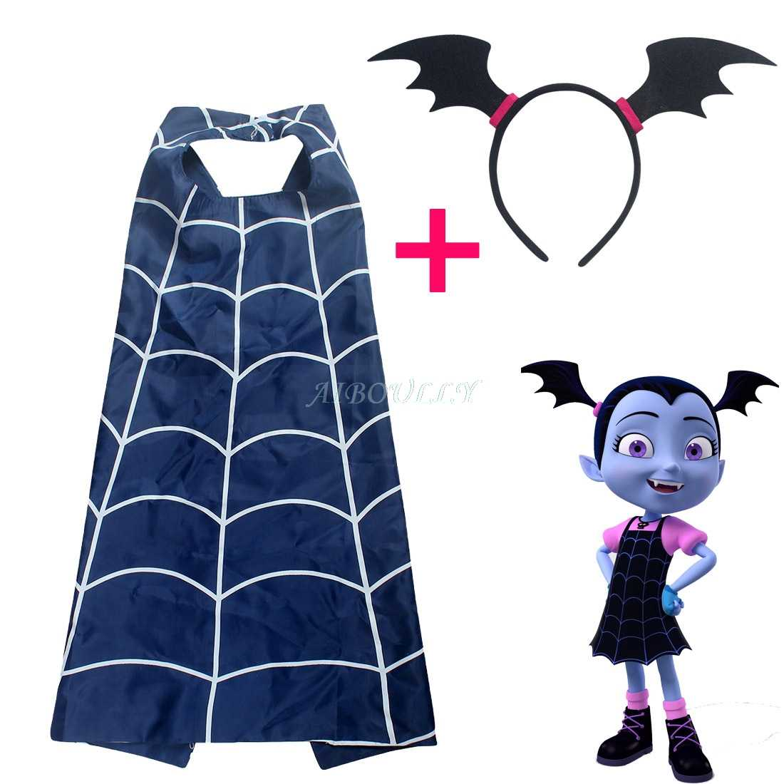 Vampirina Action Figure Toys Cosplay Kids Cartoon Cloak Cape and Mask Headband The Vamp Girl Cosplay Costumes