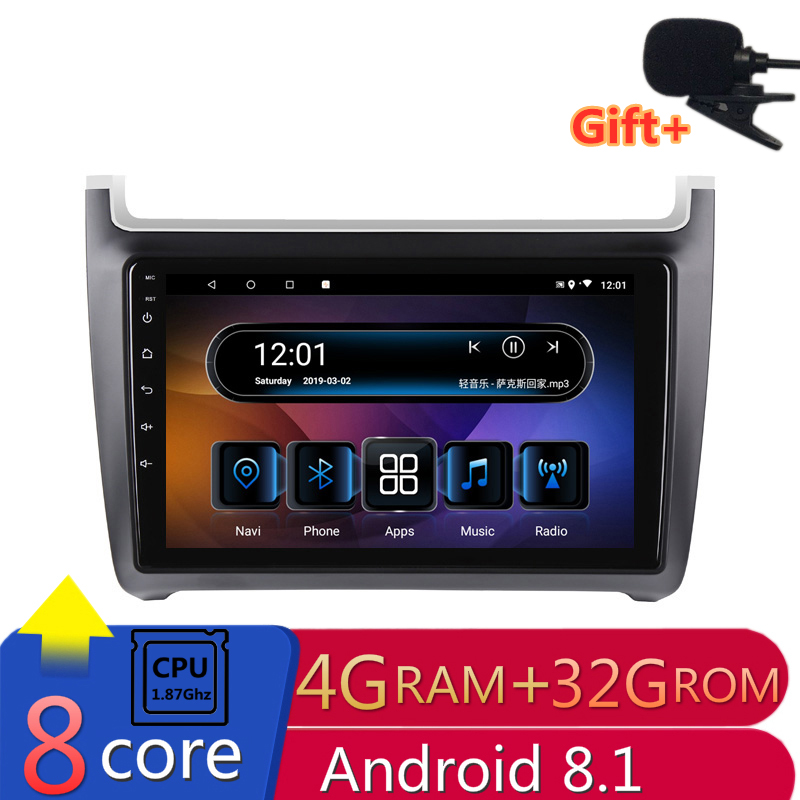 "10.1""4G RAM 8 cores Android Car DVD GPS Navigation For vw polo 2011 2012 2013-2016 audio stereo car radio headunit bluetooth"