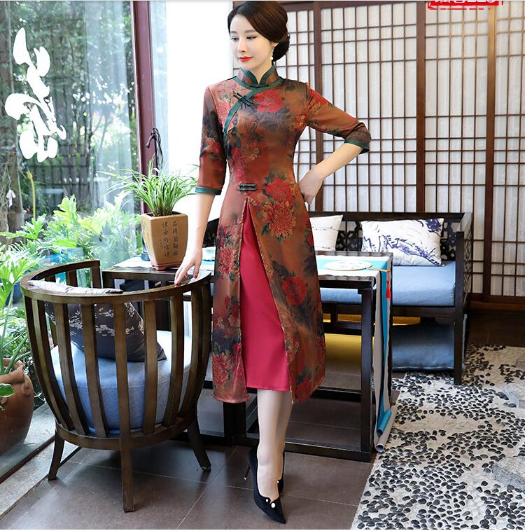 New Vietnam Aodai Velour Cheongsams Traditional Dress Retro Qi Pao Women Antique