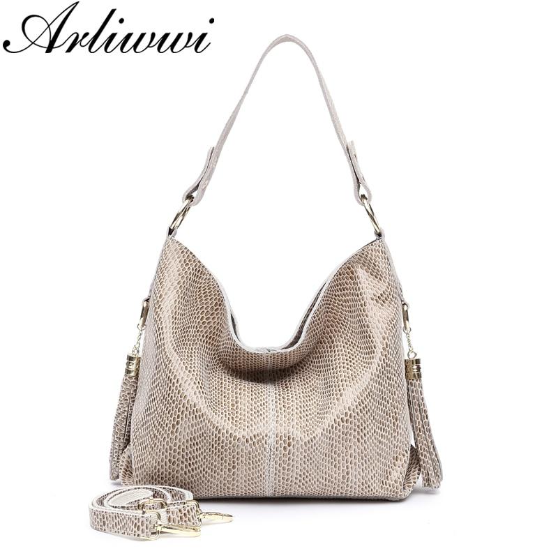 Arliwwi Brand Shiny Snakeskin Pattern Embossed REAL LEATHER Female Shoulder Bag Genuine Cowhide Handbags and Purses