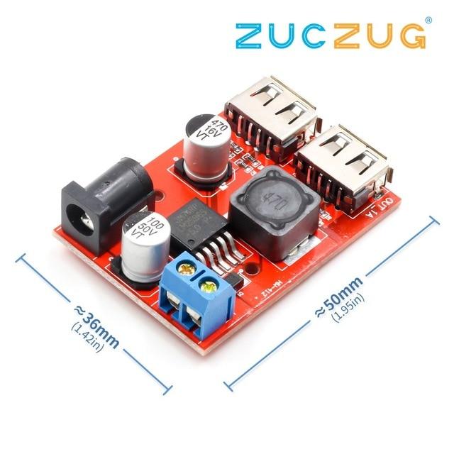 LM2596 LM2596S Dual USB DC-DC 9V 12V 24V 36V to 5V 3A Step Down Buck Converter Board Car Charger Solar Power Supply Module
