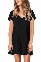 Women's Short Sleeve Tunic Dress V Neck Loose Flowy Swing Shift Dresses mesh checkered flowy dress