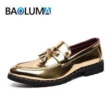 9295248d Mocasines de cuero dorado para Hombre Zapatos casuales de estilo británico Zapatos  de vestir de punta