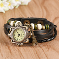 Vintage Women's Watch Leather Bracelet Effiel Tower Pendant Quartz Watch Steampunk Ladies Girl Clock Gift Relojes