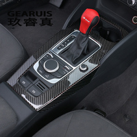 Car Styling for Audi A3 8V LHD gear shift frame decorative cover trim auto interior Carbon fiber Multimedia panel strip sticker