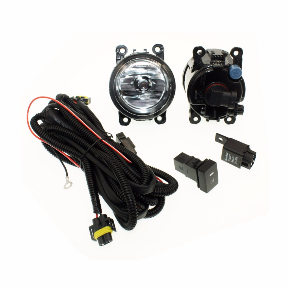For Renault LOGAN Saloon LS H11 Wiring Harness Sockets Wire Connector Switch + 2 Fog Lights DRL Front Bumper Halogen Car Lamp