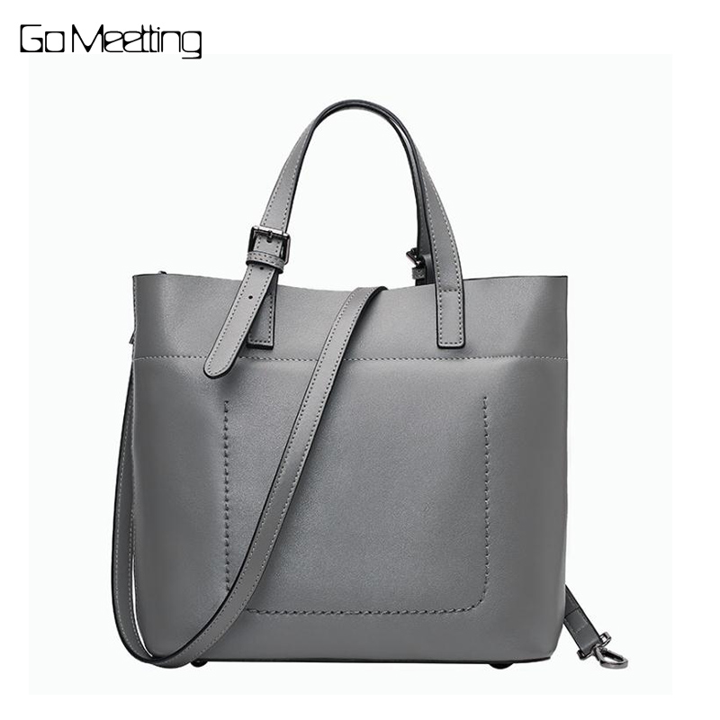 Go Meetting Women Genuine Leather Tote Bag New Leisure Top-handle Bags Lady Casual Cow Leather Crossbody Shoulder Bags Handbag joyir women weave genuine leather handbag female leisure casual lady crossbody shoulder bag women messenger top handle bags sac
