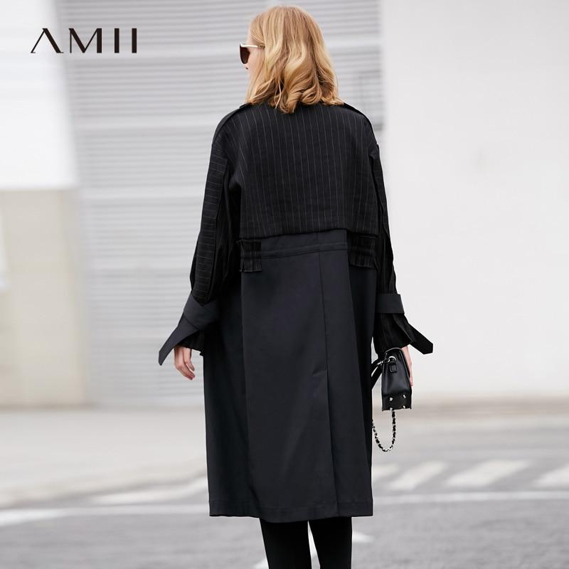 Manteaux Automne Vintage 2018 Patchwork Coupe vent Chic Tranchée Femmes Rayé Manteau Noir Amii Femelle Minimaliste Lady Office qtO7WA