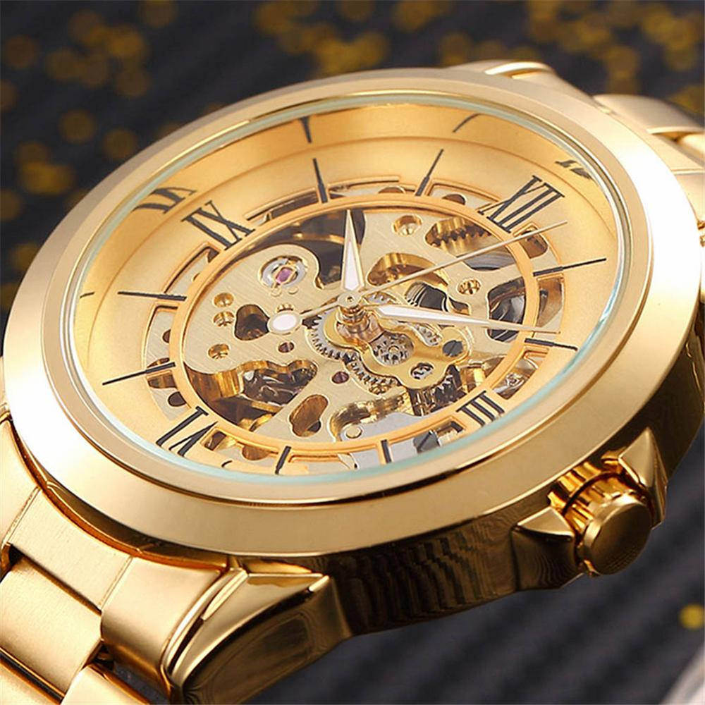 SHENHUA Luxury Male Automatic Watch Gold Case Roman Dial Steel Band Dress Men Clock Classic Mechanical Skeleton Wristwatches