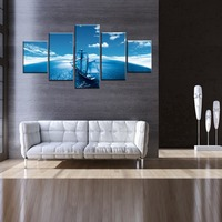 No Frame Seascape Sailing Boat Blue Sea Wall Art Oil Painting On Canvas For Home Wall