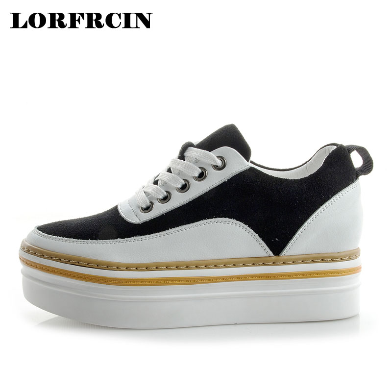 Genuine Leather Sneakers Women Flat Platform Shoes Thick Soled Hidden Heel Casual Shoes For Woman Ladies Creepers Zapatos Mujer creepers women shoes black white striped shoes female casual flat platform shoes round toe thick soled ladies shoes