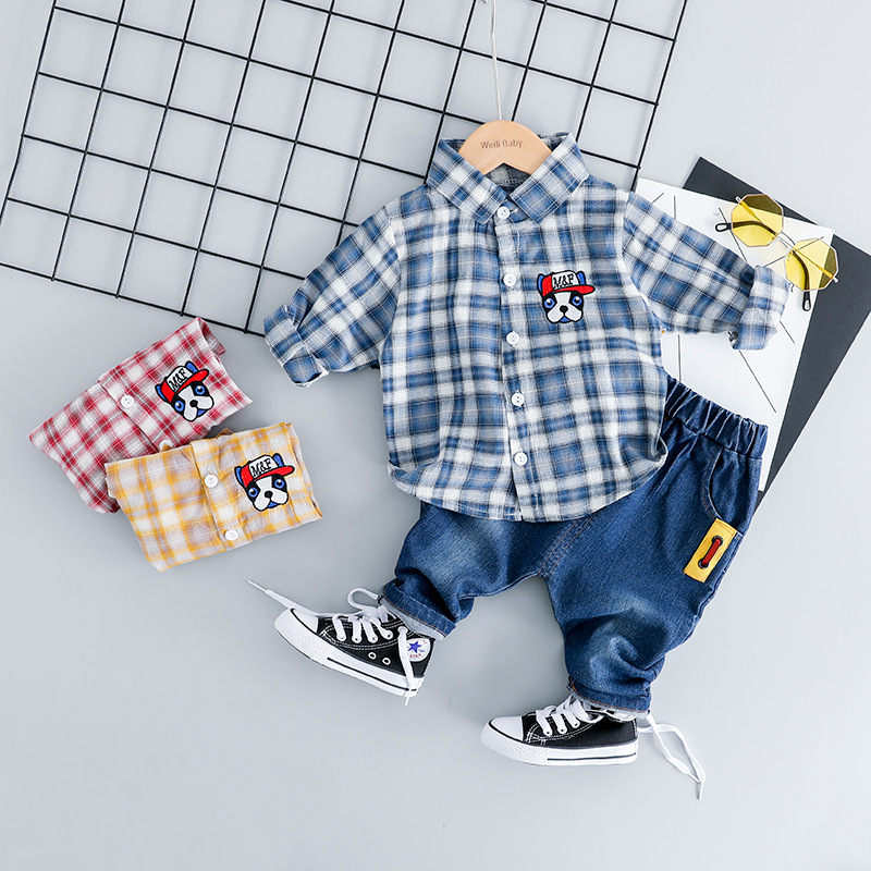 2019 Baby Kids Brand Long Sleeve Plaid Shirt+Blue Jeans 2pcs Casual Newborn Outfit Cotton Cartoon Print Baby Set For Boy Clothes2019 Baby Kids Brand Long Sleeve Plaid Shirt+Blue Jeans 2pcs Casual Newborn Outfit Cotton Cartoon Print Baby Set For Boy Clothes