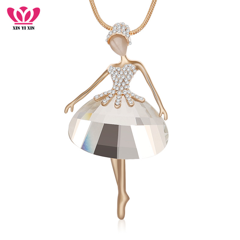 Women Crystal Dancing Fairy Angel Pendant 925 Silver Plated Long Chain Necklace