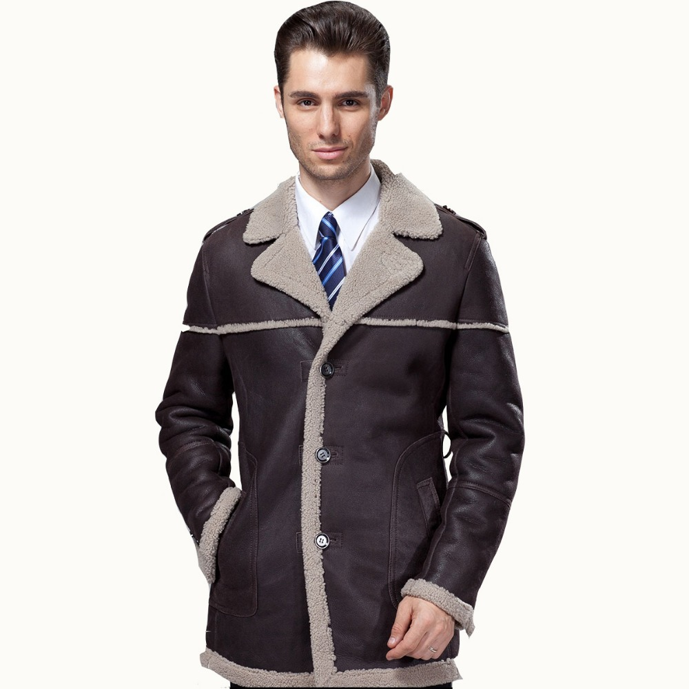 2017 Luxury Business Casual Thick Merino Sheepskin Fur One Piece Male Medium Long Genuine Leather Suede Fur Clothing Coat Jacket