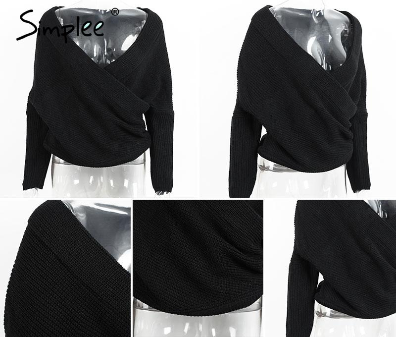 d98672dcc6 Simplee Fashion pullovers thick sweater women Autumn winter v neck ...