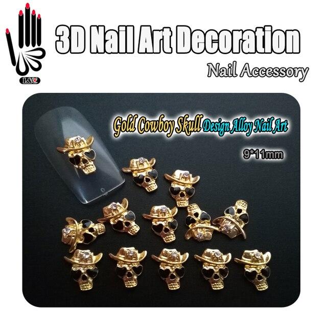 Nail Rhinestone 10pcs Lot 3D Gold Black Eye Skull Design Rhinestone Alloy  Nail Art Decorations for Nail Jewelry 4a83065ef3f9