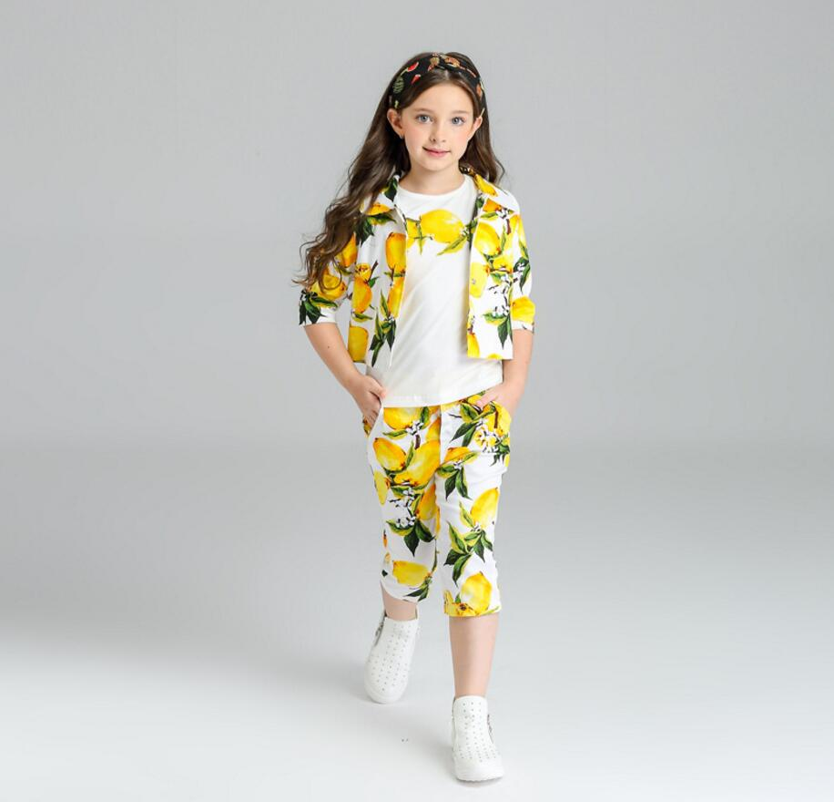 Winter Autumn New Girl Sets fashion  Lemon Three Piece Fashion Outfits Jacket+T-shirts+pants Children Clothing 3 5 7 9 11 12 Y 1toy disney принцесса т58464