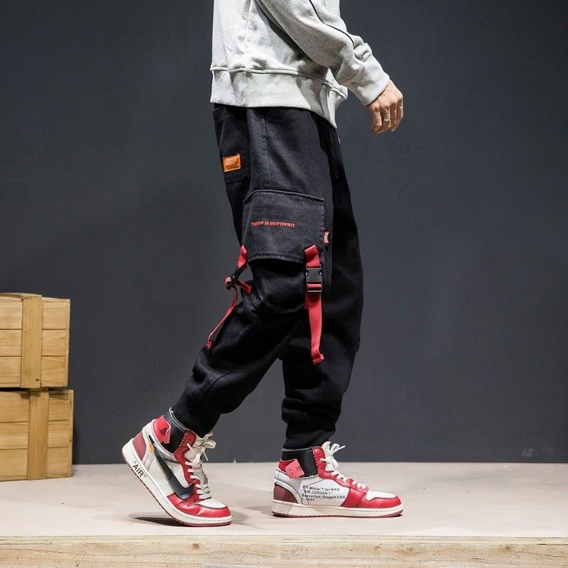 Cargo Pants Men Plus Size Patchwork Streetwear Pocket Joggers Loose Hip Hop Elastic Waist Ankle Length Trousers Techwear