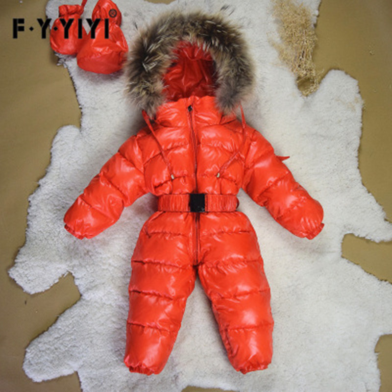 Winter Baby Rompers Long Sleeves For Babies Boys Down Cotton Coats 90% White Duck Down Jumpsuit Girls Newborn Clothes Fur Collar 100% white duck down women coat fashion solid hooded fox fur detachable collar winter coats elegant long down coats