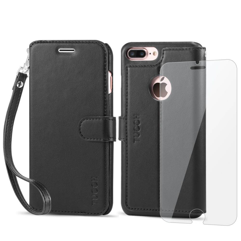 iPhone 7 Plus Leather Case, TUCCH Leather Wallet Phone Case [Card Slots] [Flip] [Wallet] [Stand] [Wrist Strap] Carry-All Case