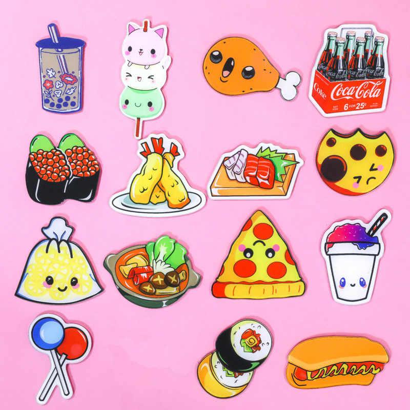 1Pcs Lucu Kartun Pizza dan Makanan Minuman Acrylic Bros Lencana untuk Wanita Ransel Pakaian Dekorasi Ikon Anak-anak Bros Pin Hadiah