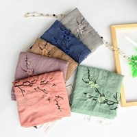 Chinese Style Plum Flower Embroidered Women Pure Color Scarf Shawls Ladies Retro Autumn Winter Cotton Scarves