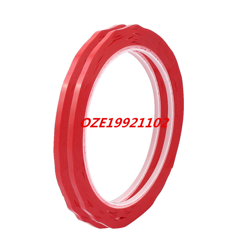 2Pcs 3mm Width Single Sided Strong Self Adhesive Mylar Tape 50M Length Red 2pcs 2 5x 1cm single sided self adhesive shockproof sponge foam tape 2m length