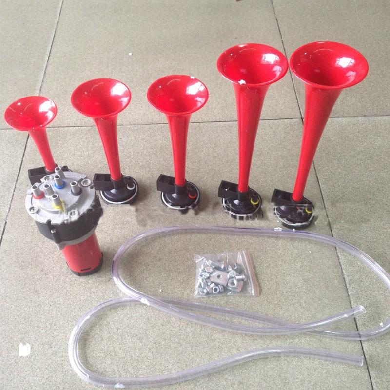 ФОТО 12V/24V 5-barreled Electric Horn Pads Tire Pressure Alarm Pump Horn Waterproof Car Siren Air Horn Motorcycle Universal Horn