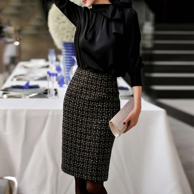 Tweed jupe femmes noir métal flash tissu 2020 automne/hiver femmes jupe dames tissage dans une jupe longue (fentes jupe plus tard)